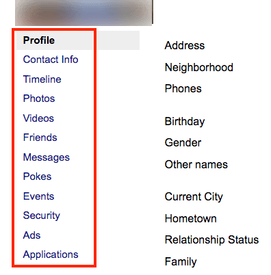 Facebook archive page menu