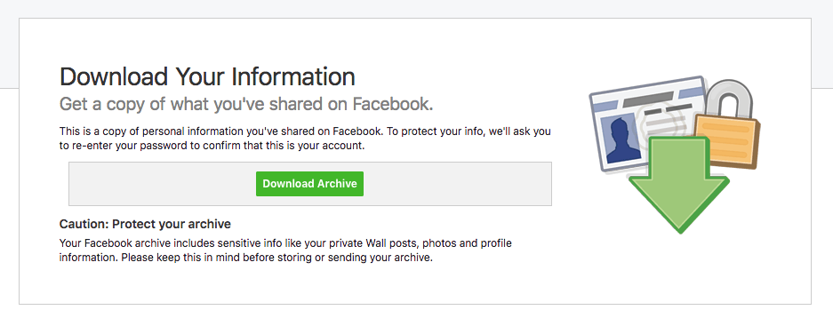 Facebook screen to download data archive