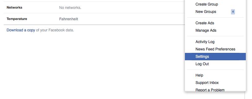 Facebook settings - activity