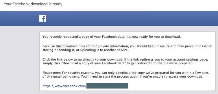Facebook download email