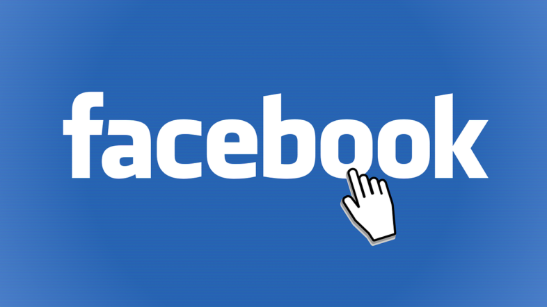 Facebook logo and hand pointer