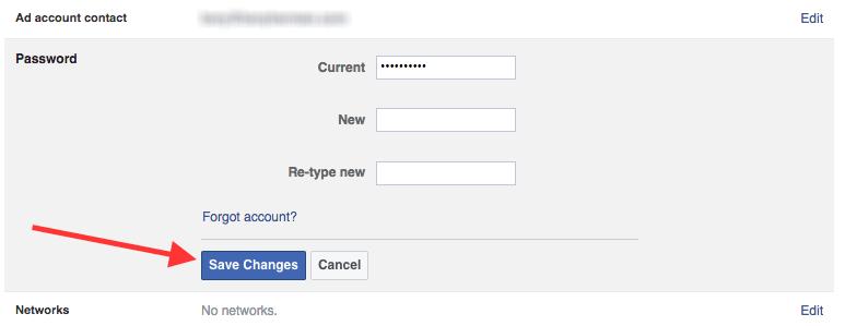 Facebook Change Your Password
