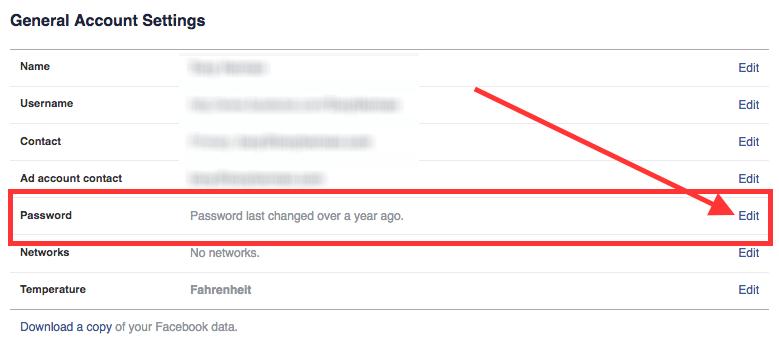Facebook Password Settings