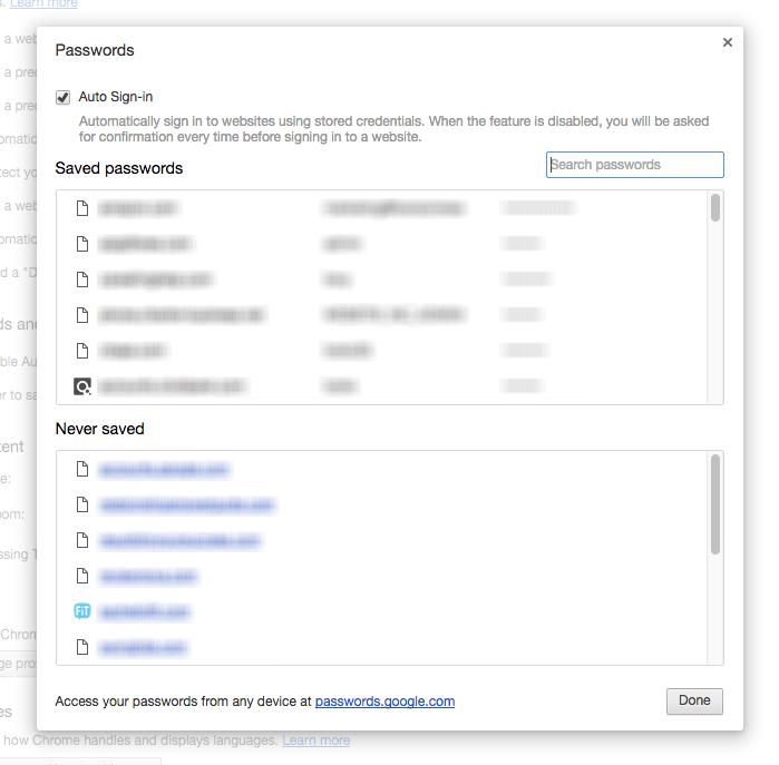 Chrome password recovery screen