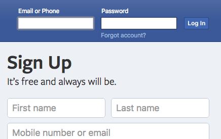 new Facebook login screen