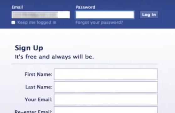 old Facebook login page