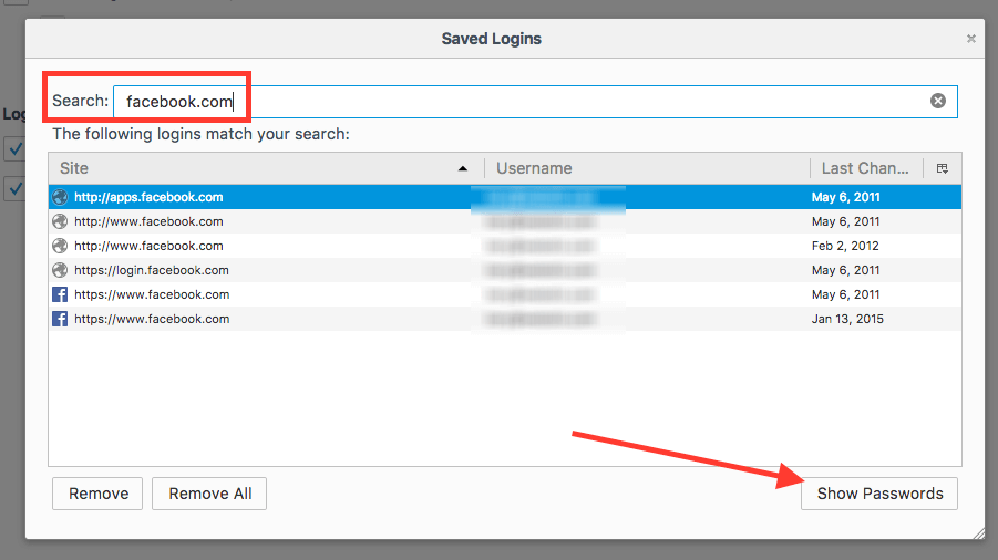 Facebook password recovery in Firefox