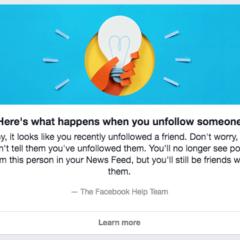 Unfollowed on Facebook, not notified