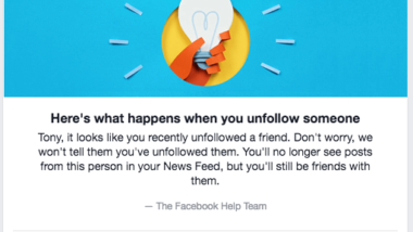 Unfollowed on Facebook, not notified