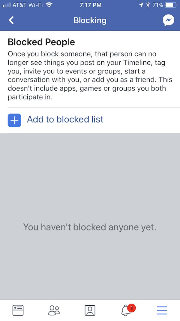 Facebook blocking on mobile