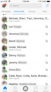 Facebook Messenger status screen
