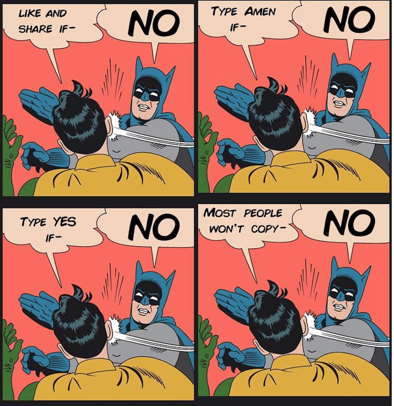 Batman slapping Robin for being so needy on Facebook